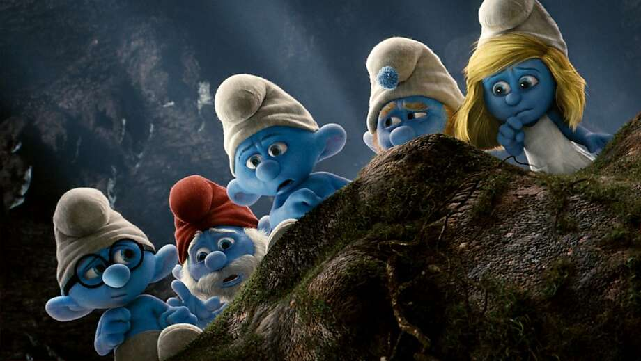 Brainy, Papa, Grouchy, Gutsy and Smurfette in Columbia Pictures' THE SMURFS. Photo: Courtesy Of Sony Pictures Animat