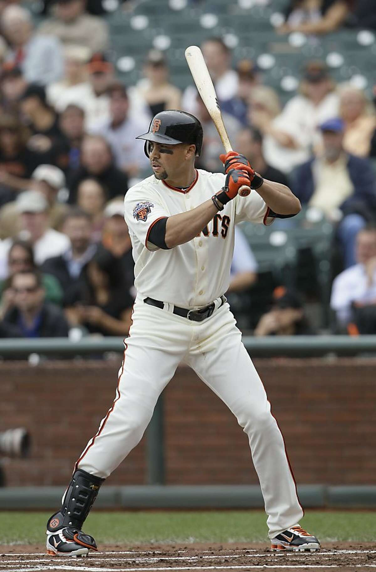 San Francisco Giants right fielder Carlos Beltran (15) in a baseball game against the San Diego Padres in San Francisco, Wednesday, Sept. 14, 2011. (AP Photo/Jeff Chiu)