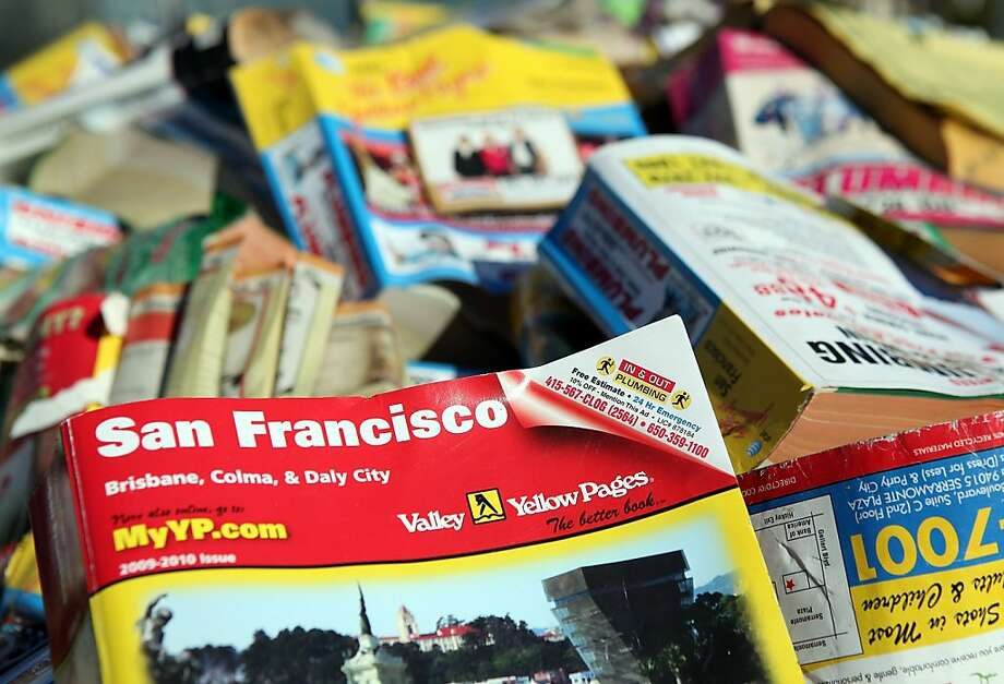 SAN FRANCISCO, CA - FEBRUARY 01: A pile of phone books sitss in the back of a pickup truck during a press conference on February 1, 2011 in San Francisco, California. San Francisco Board of Supervisors President David Chiu plans to introduce proposed legislation that would ban Yellow Pages phone books from being dropped off on the doorsteps of consumer's homes and offices. If the legislation passes, San Francisco would become the first city in the nation to ban unsolicited delivery of phone books. (Photo by Justin Sullivan/Getty Images) Ran on: 02-03-2011 Photo caption Dummy text goes here. Dummy text goes here. Dummy text goes here. Dummy text goes here. Dummy text goes here. Dummy text goes here. Dummy text goes here. Dummy text goes here.<137,1970-12-18-17-21-52,><252>###Photo: letters03_phonebook_PH<252>1296432000<252>Getty Images North America<252>###Live Caption:SAN FRANCISCO, CA - FEBRUARY 01: A pile of phone books sitss in the back of a pickup truck during a press conference on February 1, 2011 in San Francisco, California. San Francisco Board of Supervisors President David Chiu plans to introduce proposed legislation that would ban Yellow Pages phone books from being dropped off on the doorsteps of consumer's homes and offices. If the legislation passes, San Francisco would become the first city in the nation to ban unsolicited delivery of phone books.###Caption History:SAN FRANCISCO, CA - FEBRUARY 01: A pile of phone books sitss in the back of a pickup truck during a press conference on February 1, 2011 in San Francisco, California. San Francisco Board of Supervisors President David Chiu plans to introduce proposed legislation that would ban Yellow Pages phone books from being dropped off on the doorsteps of consumer's homes... Photo: Justin Sullivan, Getty Images