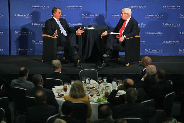 "WASHINGTON, DC - SEPTEMBER 15:  Speaker of the House Rep. John Boehner (R-OH) (L) talks with Economic Club of Washington, D.C. President David Rubenstein during the speaker series luncheon at the Ronald Reagan Building September 15, 2011 in Washington, DC. In the speech, titled ""Liberating America's Economy,"" Boehner discussed the GOP's Plan for America's Job Creators, which he said is focused on cutting Washington spending, ending regulations and reforming the tax code.  (Photo by Chip Somodevilla/Getty Images) Photo: Chip Somodevilla, Getty Images"