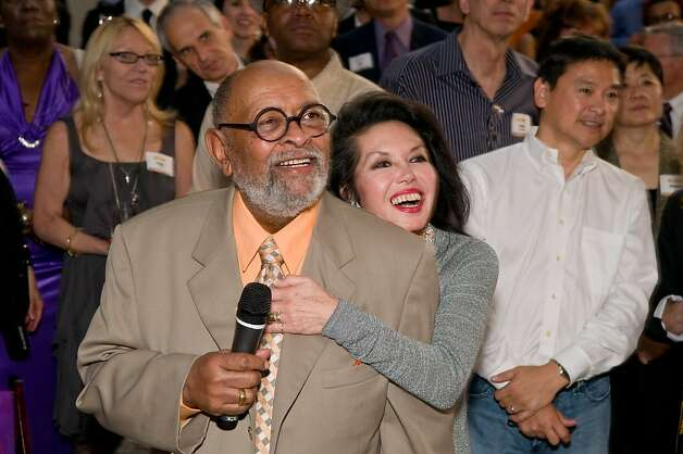 Janice Mirikitani and Reverend Cecil Williams watch the results during the final moments of the auction for lunch with Warren Buffett in Sept. 2011. Photo: Alain McLaughlin