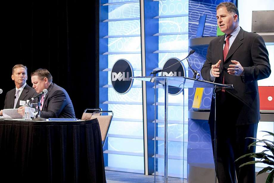 Michael Dell, chairman and chief executive officer of Dell Inc., right, speaks during the company's annual shareholders meeting in Austin, Texas, U.S., on Friday, July 17, 2009. Dell Inc., the world's second-largest maker of personal computers, said it's seeing signs that demand for information technology is stabilizing around the world, although at a lower level than in the past. Brian Gladden, Dell's chief financial officer, is seated second from the left. Photographer: Ed Lallo/Bloomberg Michael Dell, chairman and chief executive officer of Dell Inc., right, speaks during the company's annual shareholders meeting in Austin, Texas, U.S., on Friday, July 17, 2009. Dell Inc., the world's second-largest maker of personal computers, said it's seeing signs that demand for information technology is stabilizing around the world, although at a lower level than in the past. Brian Gladden, Dell's chief financial officer, is seated second from the left. Photographer: Ed Lallo/Bloomberg  Ran on: 07-05-2010 Michael Dell, CEO of Dell Inc., speaks during the company's annual meeting in Austin, Texas. Brian Gladden, Dell's chief financial officer (second from left), expects PC prices to begin rising in Europe. Photo: Ed Lallo, Bloomberg News