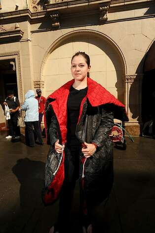 Veronika Scott models a wearable sleeping bag prototype on Friday, Sept. 9, 2011, in San Francisco. Scott hopes her coats, which are made of Tyvek and convert to sleeping bags, will help homeless people. Photo: Noah Berger, Special To The Chronicle
