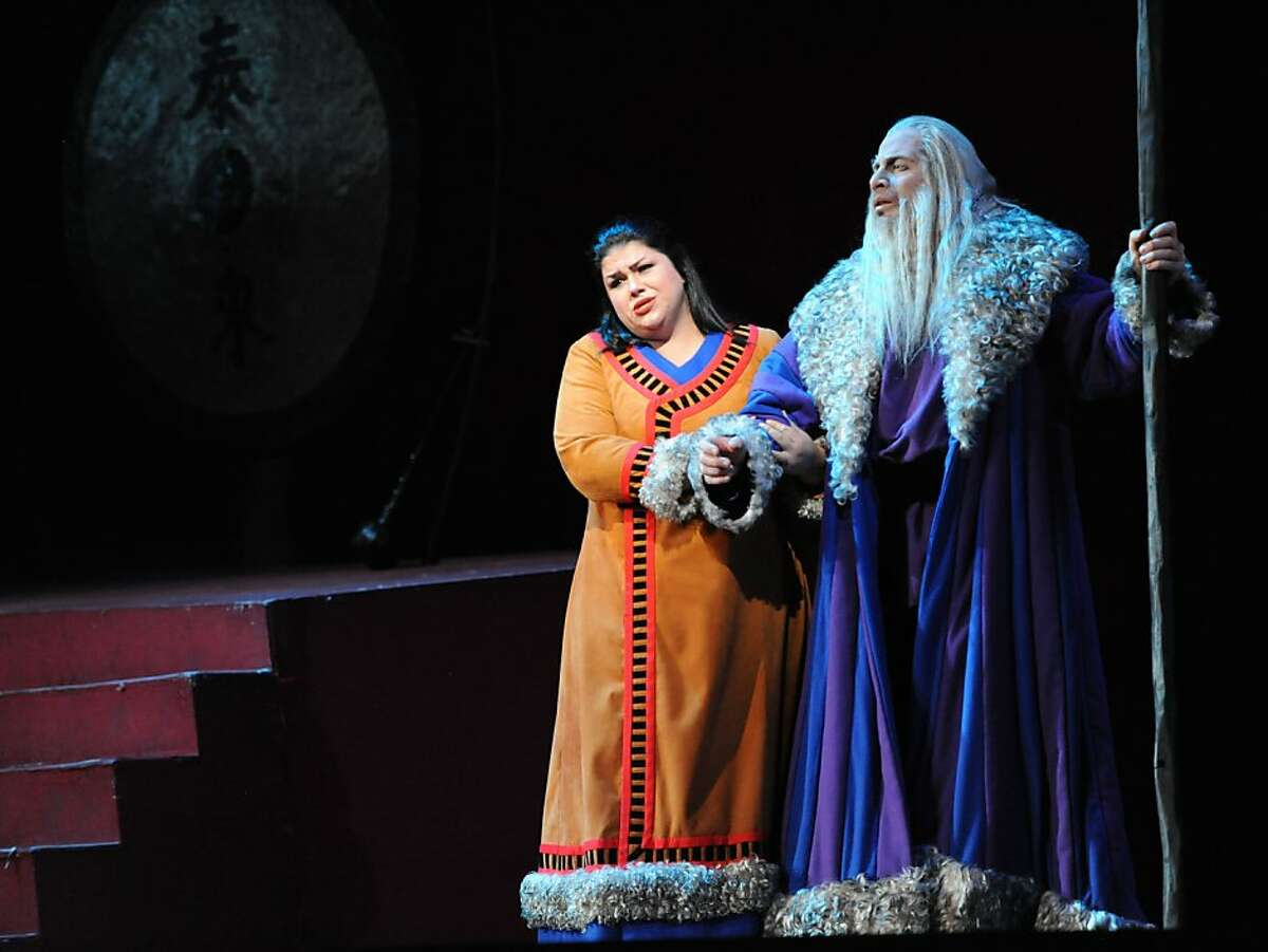 """Leah Crocetto as Liu and Raymond Aceto as Timur perform during the final dress rehearsal of Puccini's """"Turandot"""" at the War Memorial Opera House in San Francisco on Tuesday, September 6, 2011."""