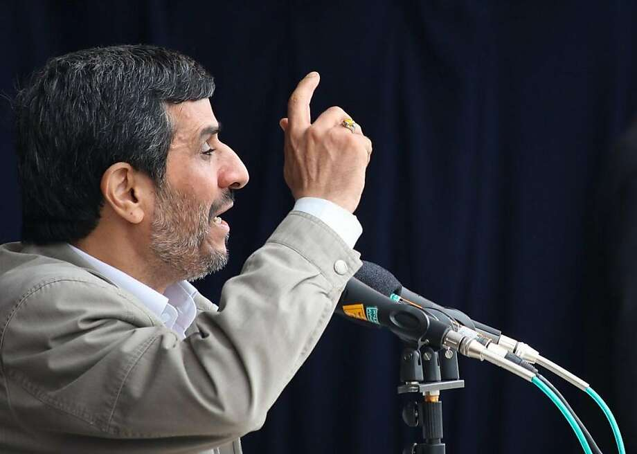 "--- EDITORS NOTE ----- RESTRICTED TO EDITORIAL USE MANDATORY CREDIT ""AFP PHOTO / IRANIAN PRESIDENCY"" NO MARKETING NO ADVERTISING CAMPAIGNS - DISTRIBUTED AS A SERVICE TO CLIENTS A handout from the Iranian presidency shows Iranian President Mahmoud Ahmadinejad speaking to supporters in Ardabil on September 14, 2011. Iran's judiciary said that no decision has been taken on releasing two US hikers convicted of spying, a day after President Mahmoud Ahmadinejad said the duo would be released soon. AFP PHOTO/IRANIAN PRESIDENT'S OFFICE/HO (Photo credit should read -/AFP/Getty Images) Photo: -, AFP/Getty Images"