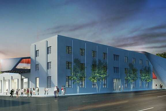 The transformation of UC-Berkeley's former printing plant into the Berkeley Art Museum and Pacific Film Archive would include a zinc-clad addition along Oxford Street containing the archive's theater.
