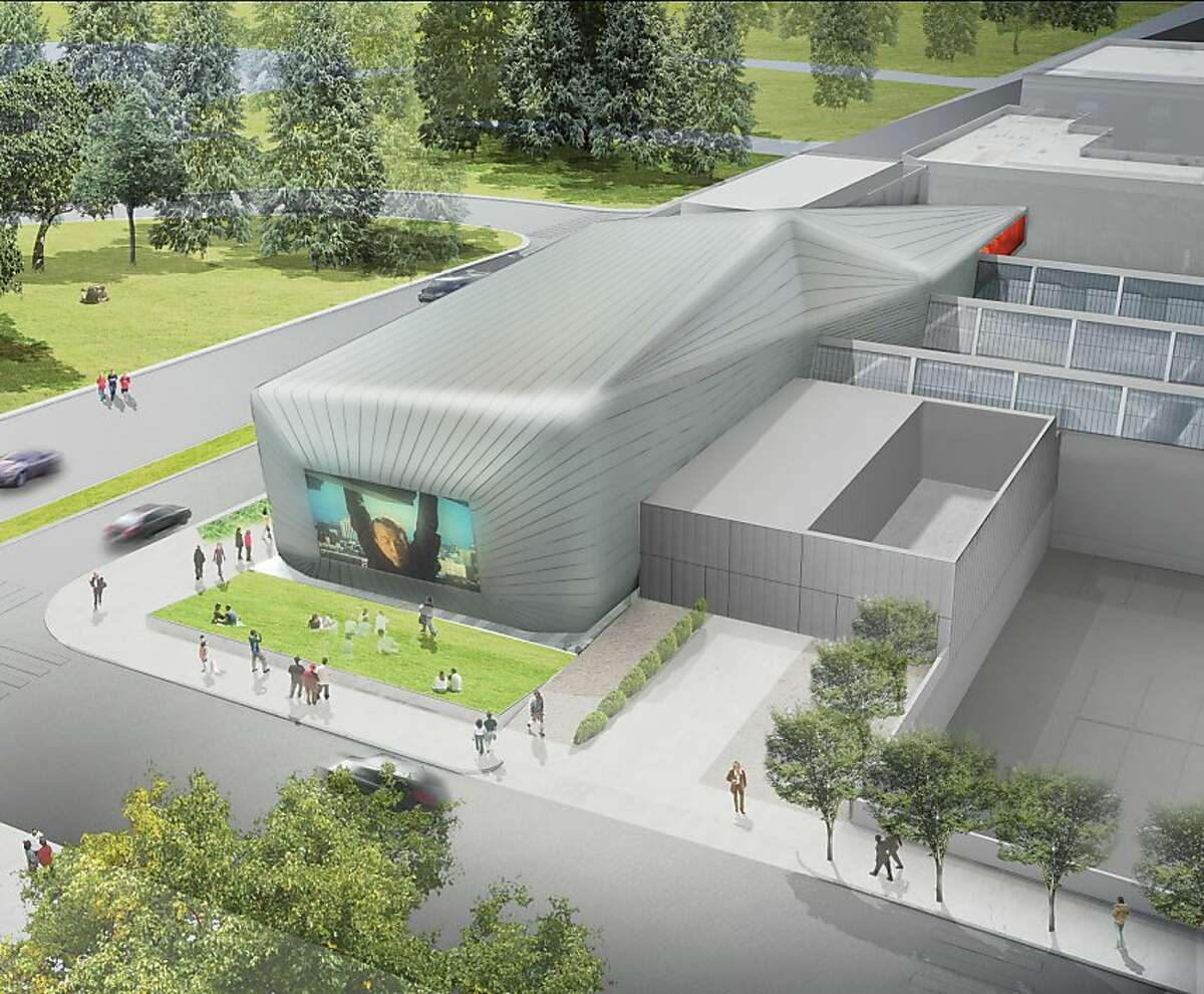 The transformation of UC-Berkeley's former printing plant into the Berkeley Art Museum and Pacific Film Archive would include a zinc-clad addition along Oxford Street containing the archive's theater, with the zinc continuing south to Center Street above the facility's circulation spine.
