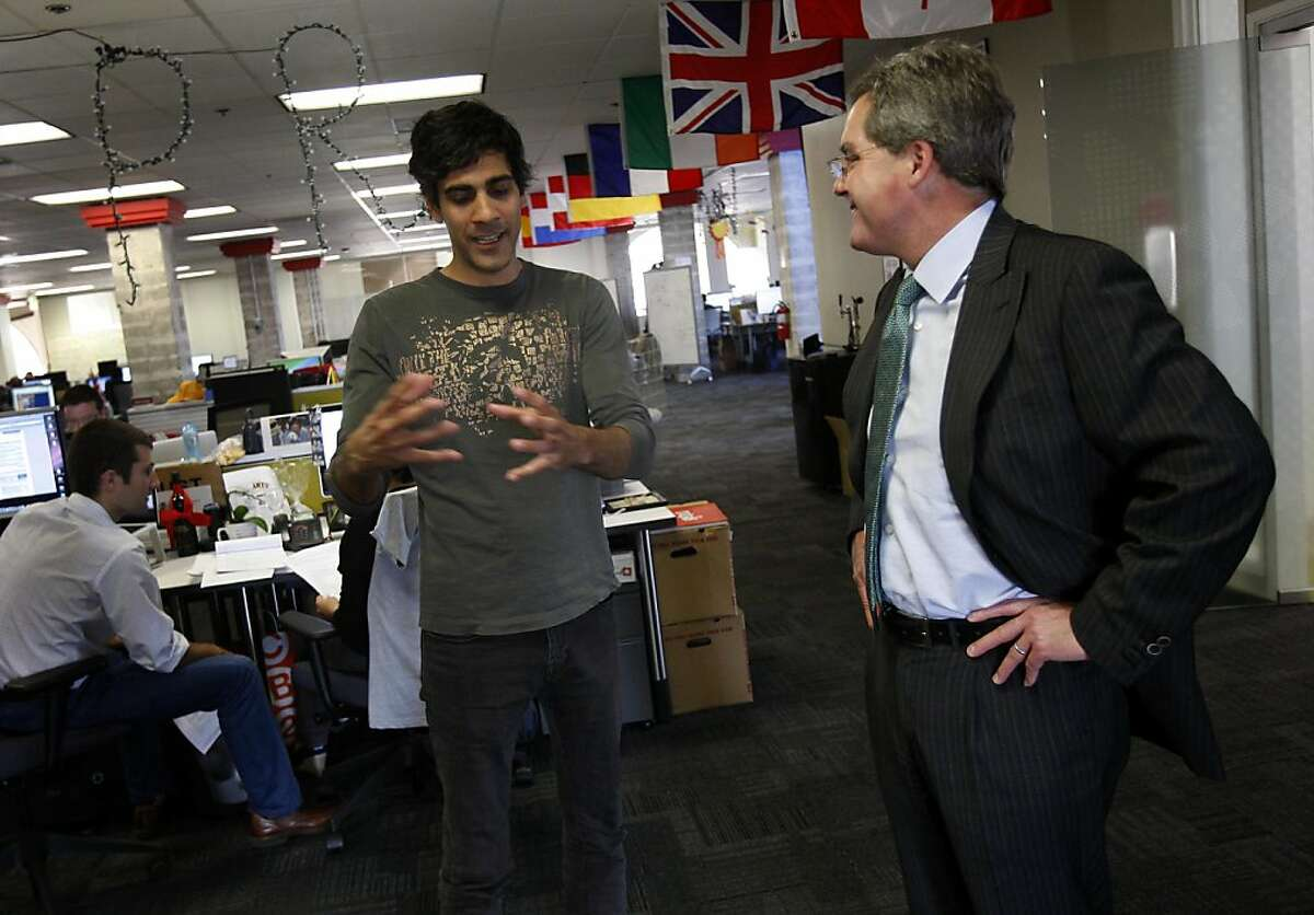 Dennis Herrera (right) talked with Yelp CEO Jeremy Stoppelman at the company headquarters. San Francisco City Attorney and mayoral candidate Dennis Herrera visited Yelp headquarters on Mission Street Monday September 12, 2011.