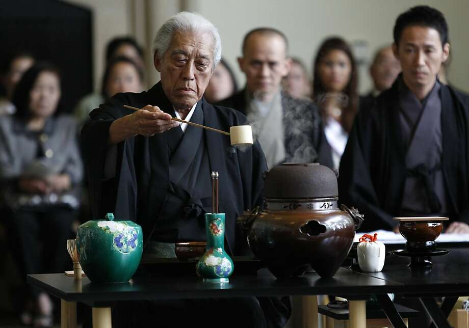 Dr. Genshitsu Sen, 15th Grand Tea Master of the Urasenka Konnichan, performs the Kenchashiki Way of Tea in a ceremony to commemorate the 60th Anniversary of the signings of the Treaty of Peace with Japan and the Security Treaty between the United States and Japan on Thursday, September 8, 2011 in the Presidio of San Francisco, Calif. Photo: Beck Diefenbach, Special To The Chronicle