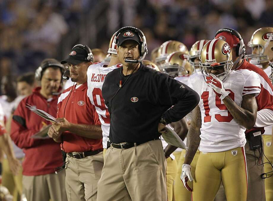 San Francisco 49ers coach Jim Harbaugh during the first half of a NFL preseason football game against the San Diego Chargers Thursday, Sept. 1, 2011 in San Diego. (AP Photo/Gregory Bull) Photo: Gregory Bull, AP