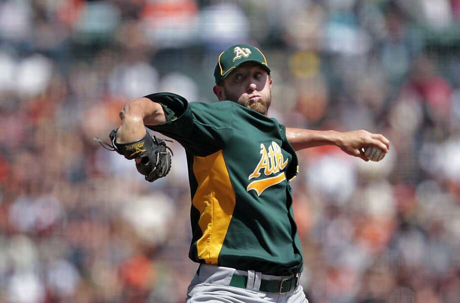 Oakland Athletics starting pitcher Dallas Braden pitches against the San Francisco Giants in the third exhibition game, Wednesday March 30, 2011, at AT&T Park in San Francisco, Calif.   Ran on: 03-31-2011 The A's Dallas Braden pitched 52-3 shutout innings against the Giants on Wednesday. He allowed five hits, struck out five and walked two. Ran on: 03-31-2011 The A's Dallas Braden pitched 52-3 shutout innings against the Giants on Wednesday. He allowed five hits, struck out five and walked two. Photo: Lacy Atkins, The Chronicle