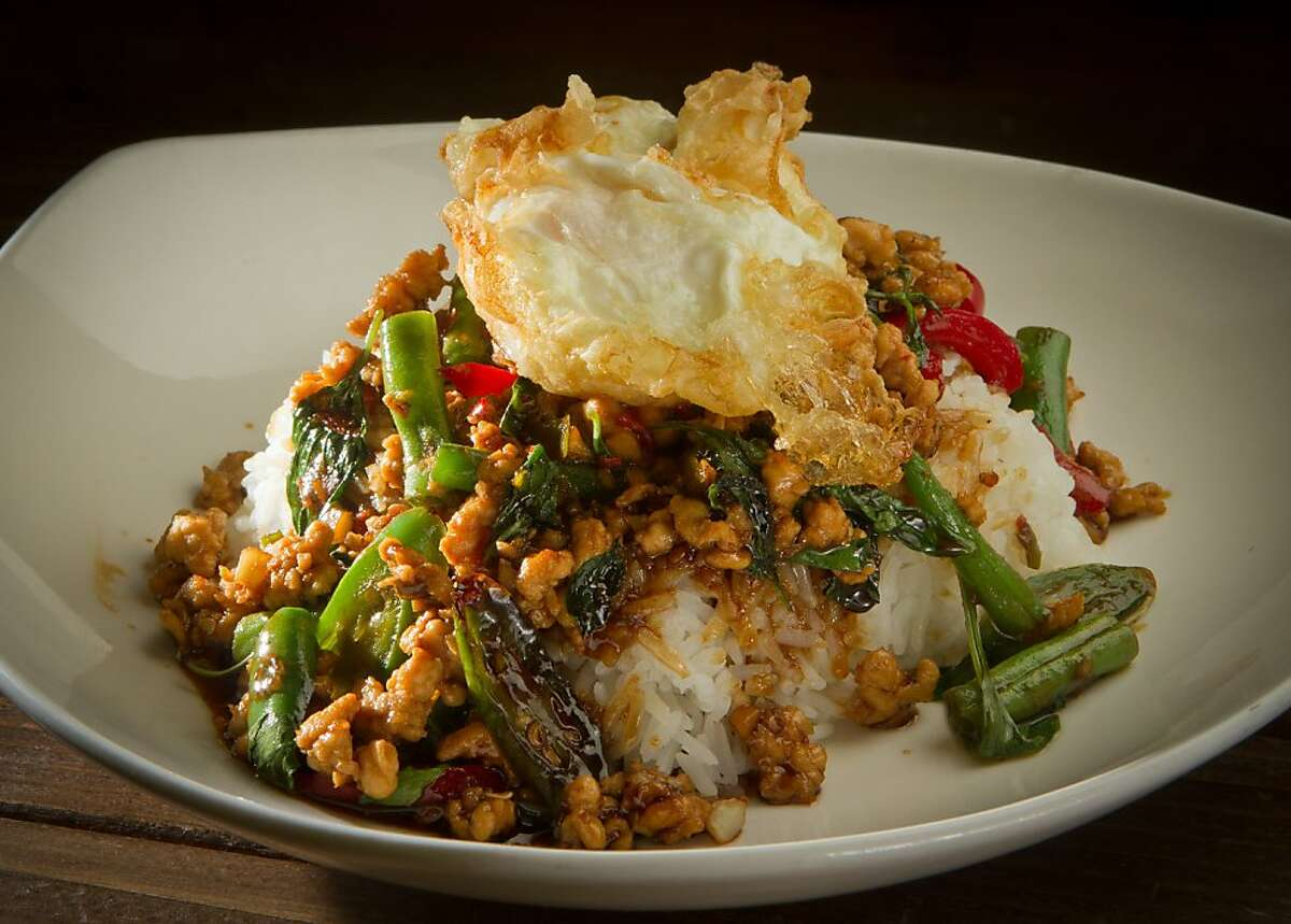 The Gra Prow Kai Dow (minced chicken with Thai fried egg) at Tin Thai Kitchen in Livermore, Calif., is seen on Thursday September 1, 2011.