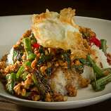 The Gra Prow Kai Dow (minced chicken with Thai fried egg) at Tin Thai Kitchen in Livermore.