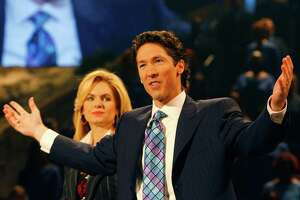 Joel and Victoria (his wife) Osteen lead a worship service, Sunday, at Lakewood Church, the congregation he took over 8 years ago after the death of his father, John Osteen,  founder of the institution. Osteen moved the congregation from its outgrown northeast Houston established site to the building formerly known as the Compaq Center and before that as the Summit. Dodie Osteen, John's widow and Joel's mother, sat near him during parts of the service. Sunday, Sept. 30, 2007, in Houston. (Steve Ueckert / Chronicle)