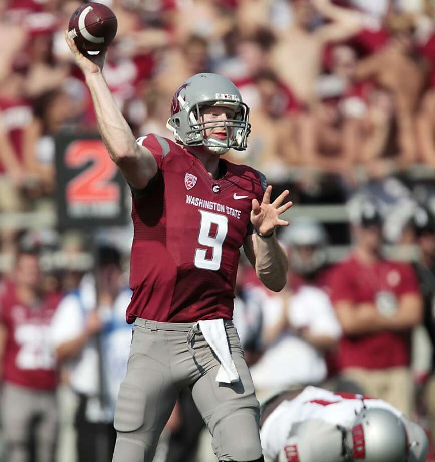 Washington State quarterback Marshall Lobbestael (9) passes the ball during the first half of an NCAA college football game against UNLV, Saturday, Sept. 10, 2011, in Pullman, Wash. Washington State won 59-7. (AP Photo/Dean Hare) Photo: Dean Hare, AP