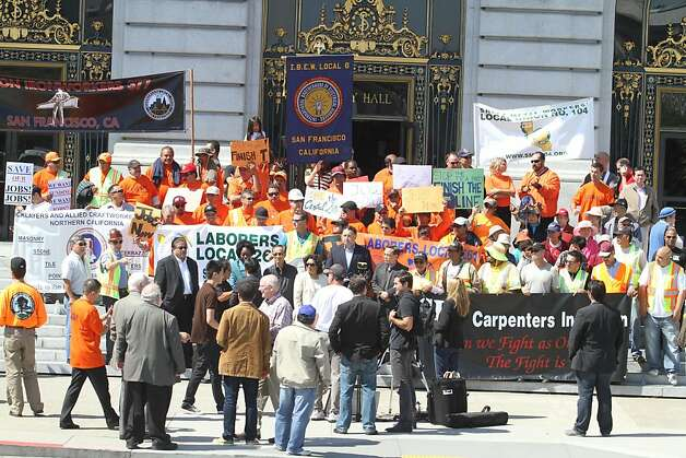 Union members and politicians gather in front of city hall at a rally in support of the Central Subway project on Friday, Sept. 9, 2011. Photo: Mathew Sumner, Special To The Chronicle