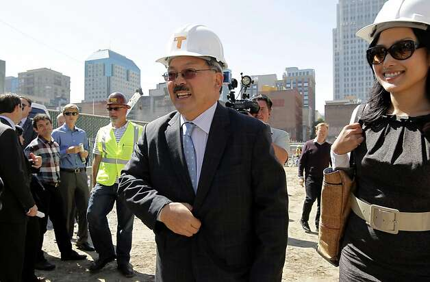 San Francisco Mayor Ed Lee  and Supervisor, Jane Kim, join officials as they kick off the construction phase of the Transbay Transit Center on Wednesday September 7, 2011, in downtown San Francisco, Ca. Photo: Michael Macor, The Chronicle