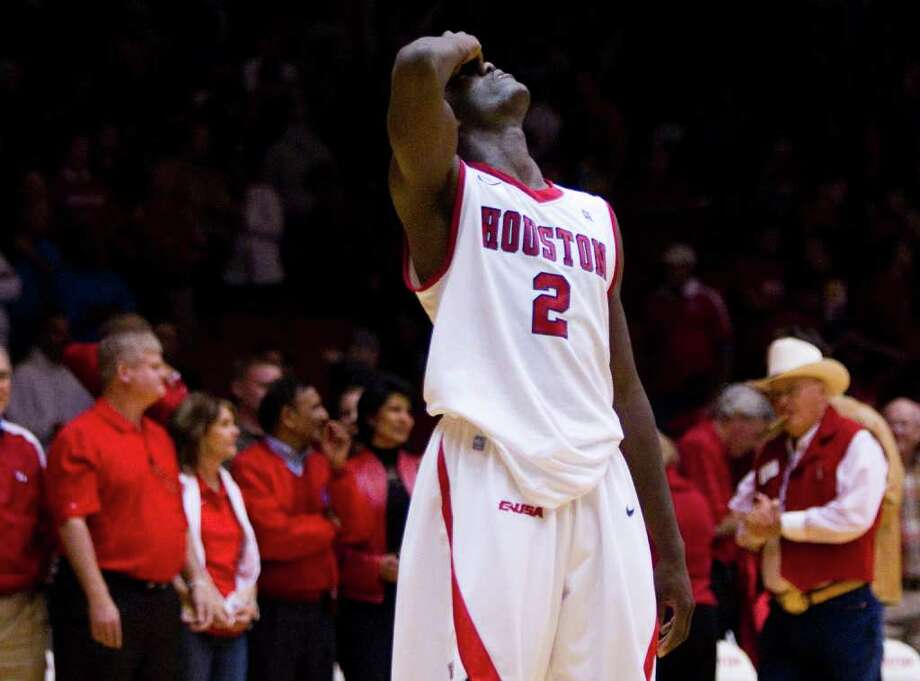 Nov. 29: LSU 59, UH 58UH forward Alandise grimaces after the Cougars' last-second loss to LSU on Tuesday night at Hofheinz Pavilion. Photo: Brett Coomer, Houston Chronicle / © 2011 Houston Chronicle