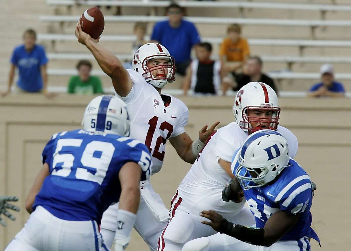 Stanford quarterback Andrew Luck (12) passes against Duke during an NCAA college football game Saturday, Sept. 10, 2011, in Durham, N.C. (AP Photo/The News & Observer, Chuck Liddy) MANDATORY CREDIT Ran on: 09-11-2011 With each passing week, Stanfords Andrew Luck continues to show what all of the Heisman hype is about. Ran on: 09-11-2011 With each passing week, Stanfords Andrew Luck continues to show what all of the Heisman hype is about.
