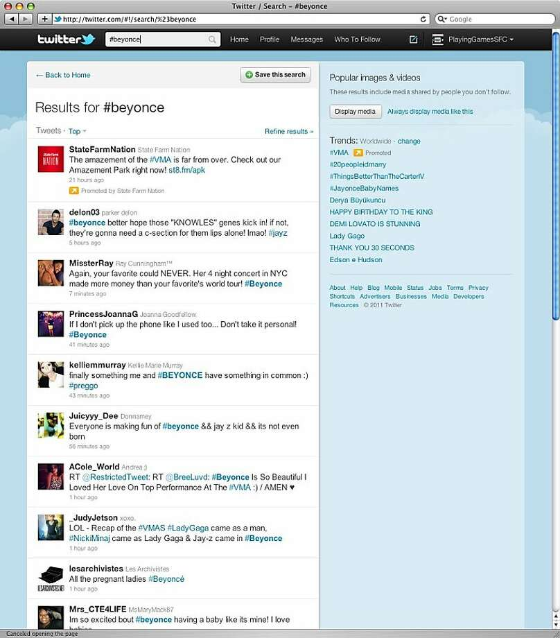 the twitter feed of #beyonce. Photo: Twitter