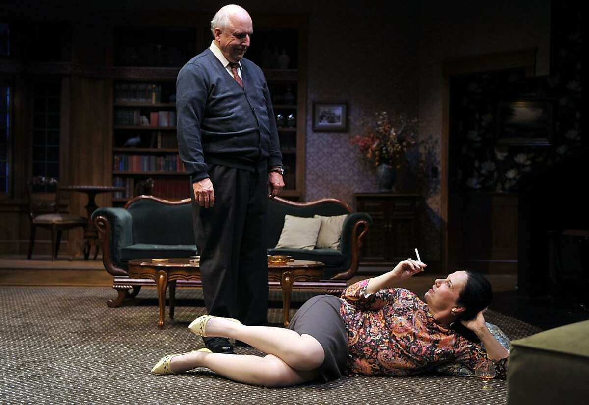 """Tobias (Ken Grantham, left) and his sister-in-law Claire (Jamie Jones) discuss alcoholism, infidelity and his wife in Edward Albee's """"A Delicate Balance"""" at Aurora Theatre"""