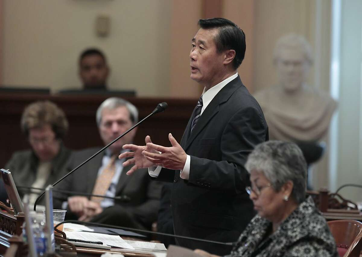 State Sen. Leland Yee, D-San Francisco, urged lawmakers to reject a measure to ban the sale, trade or possession of shark fins at the Senate in Sacramento, Calif., Tuesday, Sept. 6, 2011. Yee and Sen. Ted Lieu, D-Torrence, called the bill by Assemblyman Paul Fong, D-Cupertino, a racist measure because the fins are used in a soup considered a delicacy in some Asian cultures. Despite the opposition the bill was approved on a 25-9 vote and sent to the governor. (AP Photo/Rich Pedroncelli)