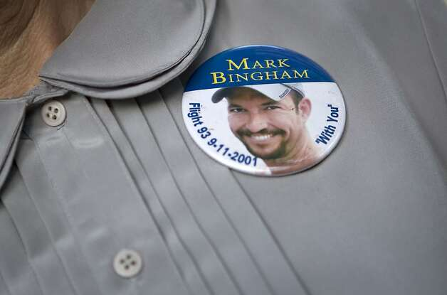 Alice Hoagland wears a pin honoring her son Mark Bingham, a passenger who died on 9/11 on United Airlines Flight 93, at her home in Redwood Estates, Calif., on Monday, May 2, 2011.  Bingham was one of the passengers who attempted to storm the cockpit and regain control of the plane from the hijackers.   Ran on: 05-03-2011 Remembering those lost: Relatives of 9-11 victims have mixed emotions  --  from celebration to sadness. Still, bin Laden's death won't bring back their loved ones. A8 Ran on: 05-03-2011 Remembering the lost: Relatives of 9-11 victims have mixed emotions  --  from celebration to sadness. Bin Laden's death won't bring back loved ones. A8 Photo: Laura Morton, Special To The Chronicle