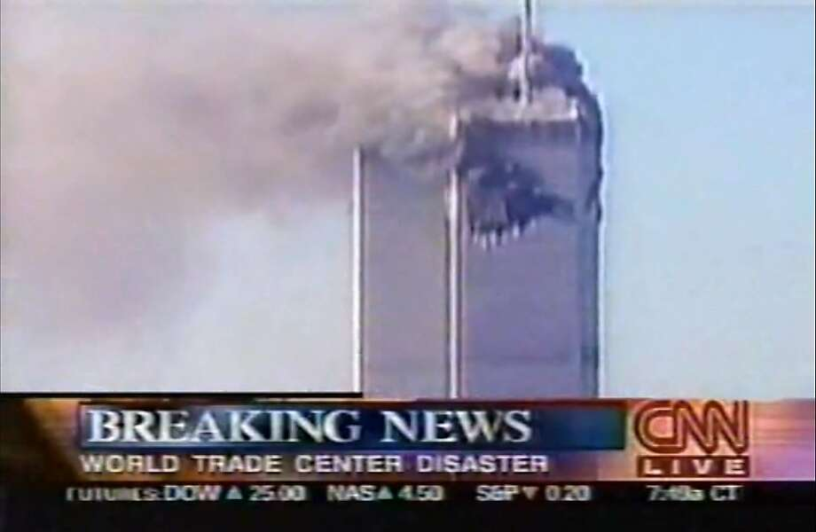 This is a screen shot of CNN's live coverage of events unfolding during 9/11 on Sept. 11, 2001. Photo: CNN