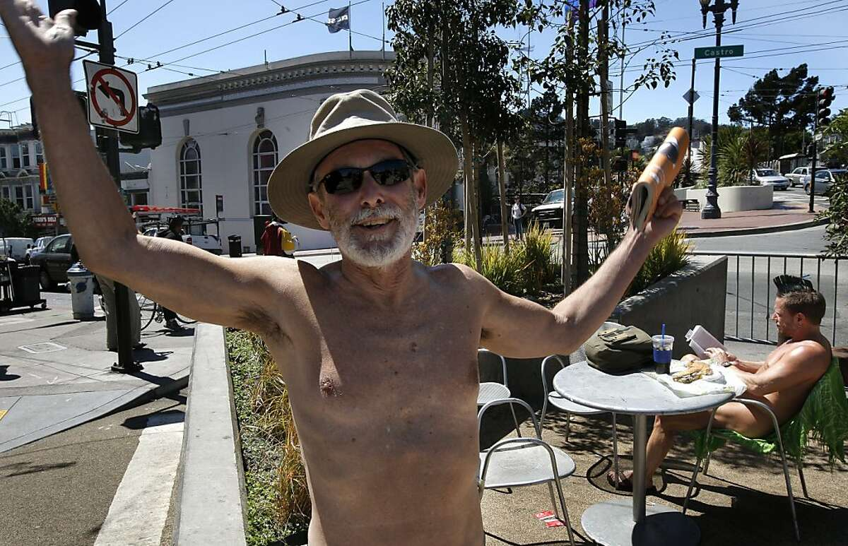George Davis, (left) and Eric Anderson enjoy the weather while in the nude at a parklet at the corner of 17th street and Castro in San Francisco, Ca. , on Tuesday September 6, 2011. Since it really hasn't been a crime to walk around nude in the city, at the very least these naked folks could put a cover on chairs when they dine and put a few clothes on too, at least that's what Supervisor Scott Wiener is proposing with new legislation that he will introduce at the Board of Supervisors today.