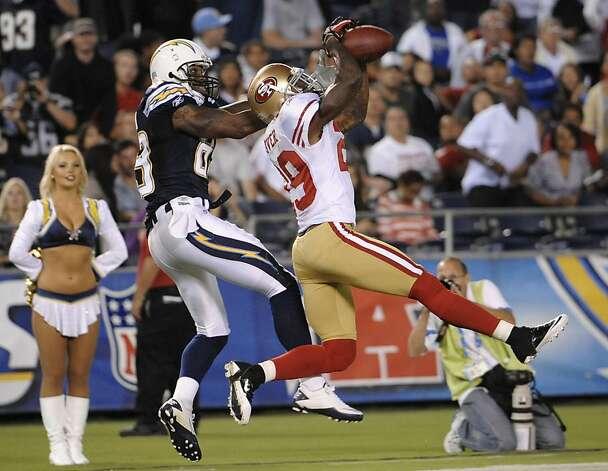 San Francisco 49ers defensive back Chris Culliver (29) intercepts a pass in front of San Diego Chargers wide receiver Seyi Ajirotutu (89) during the fourth quarter of a preseason NFL football game Thursday, Sept. 1, 2011 in San Diego. The 49ers won 20-17.  (AP Photo/Denis Poroy) Photo: Denis Poroy, AP