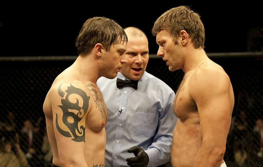 Tommy (Tom Hardy, left) and Brendan (Joel Edgerton, right) in WARRIOR. Photo: Chuck Zlotnick, Lionsgate
