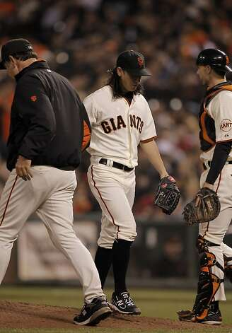 Giants starting pitcher TIm Lincecum is taken out of the game in the sixth inning, as the San Francisco Giants take on the Arizona Diamondbacks at AT&T Park, in San Francisco, Ca., on Saturday September 3, 2011. Photo: Michael Macor, The Chronicle