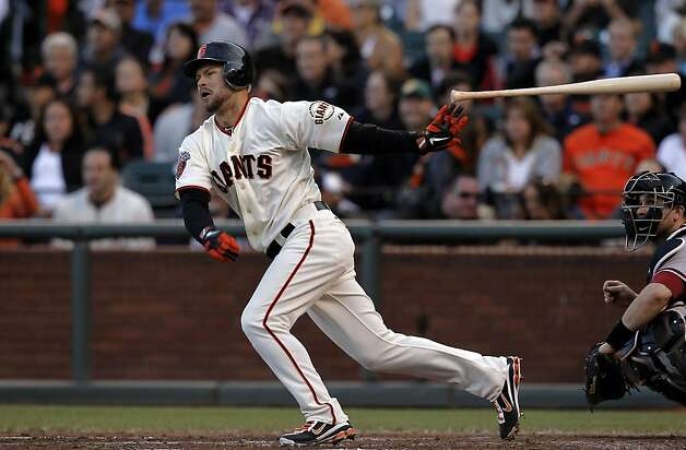 Giants Cody Ross hits a single in the third inning, as the San Francisco Giants take on the Arizona Diamondbacks at AT&T Park, in San Francisco, Ca., on Saturday September 3, 2011. Photo: Michael Macor, The Chronicle