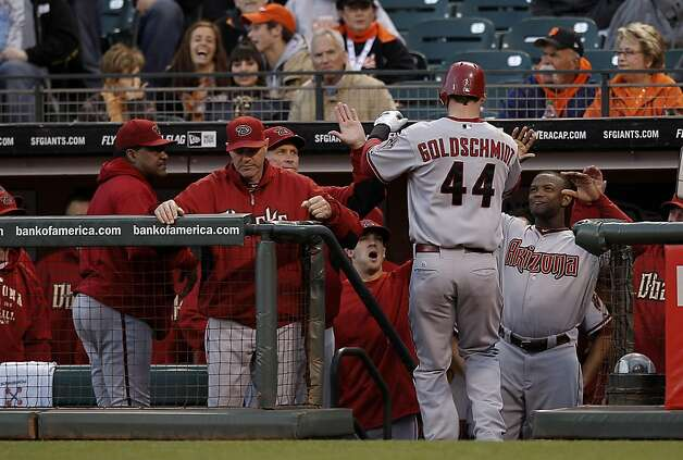 Arizona's Paul Goldschmidt celebrates his solo home run in the fouth inning, as the San Francisco Giants take on the Arizona Diamondbacks at AT&T Park, in San Francisco, Ca., on Saturday September 3, 2011. Photo: Michael Macor, The Chronicle
