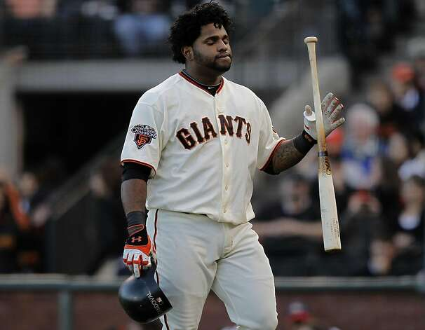 Giants Pablo Sandoval after striking out to end the first inning, as the San Francisco Giants take on the Arizona Diamondbacks at AT&T Park, in San Francisco, Ca., on Saturday September 3, 2011. Photo: Michael Macor, The Chronicle