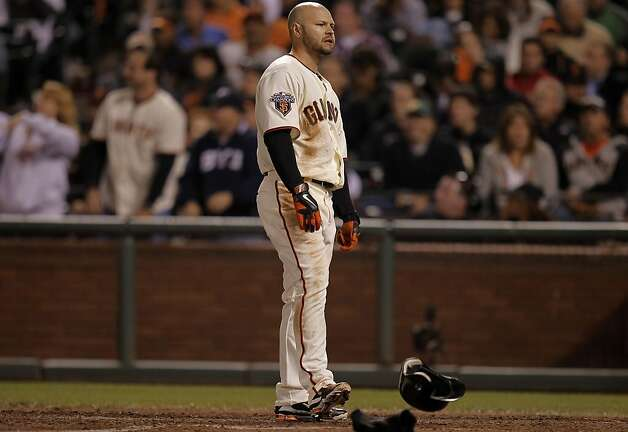 Giants Cody Ross is out swinging to end the seventh inning, as the San Francisco Giants take on the Arizona Diamondbacks at AT&T Park, in San Francisco, Ca., on Saturday September 3, 2011. Photo: Michael Macor, The Chronicle