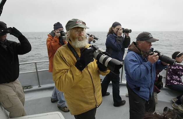 John Calambokidis, (center) a whale biologist and director of Cascadia Research Collective, searches for whales off the coast of San Francisco, Ca., on Saturday August 27, 2011. The Gulf of the Farallones boast some of the richest marine wildlife habitat, and these waters are some of the most heavily trafficked shipping lanes in the country. Over the past 10 years, ship strikes have become a major cause of death for blue whales and other large baleen whales, and ship strikes also account for one-third of the whale strandings Last year several endangered whales feeding beyond the Golden Gate were struck and killed in the shipping lanes. Photo: Michael Macor, The Chronicle