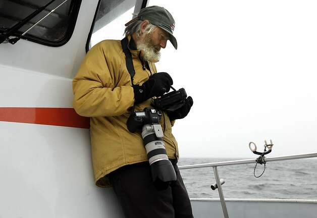 John Calambokidis, whale biologist and director of Cascadia Research Collective, off the coast of San Francisco, Ca., on Saturday August 27, 2011. The Gulf of the Farallones boast some of the richest marine wildlife habitat, and these waters are some of the most heavily trafficked shipping lanes in the country. Over the past 10 years, ship strikes have become a major cause of death for blue whales and other large baleen whales, and ship strikes also account for one-third of the whale strandings Last year several endangered whales feeding beyond the Golden Gate were struck and killed in the shipping lanes. Photo: Michael Macor, The Chronicle