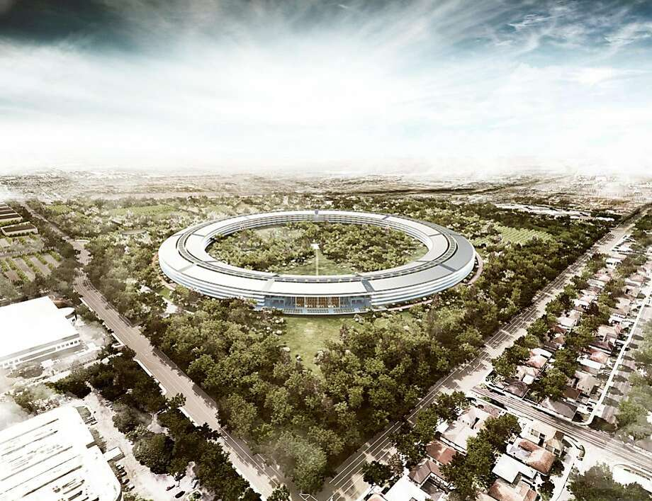 Instead of a traditional corporate campus, Apple hopes to expand in Cupertino with a single building for 12,000 workers -- a round structure with a futuristic design that Steve Jobs likens to a spaceship. Photo: Foster + Partners
