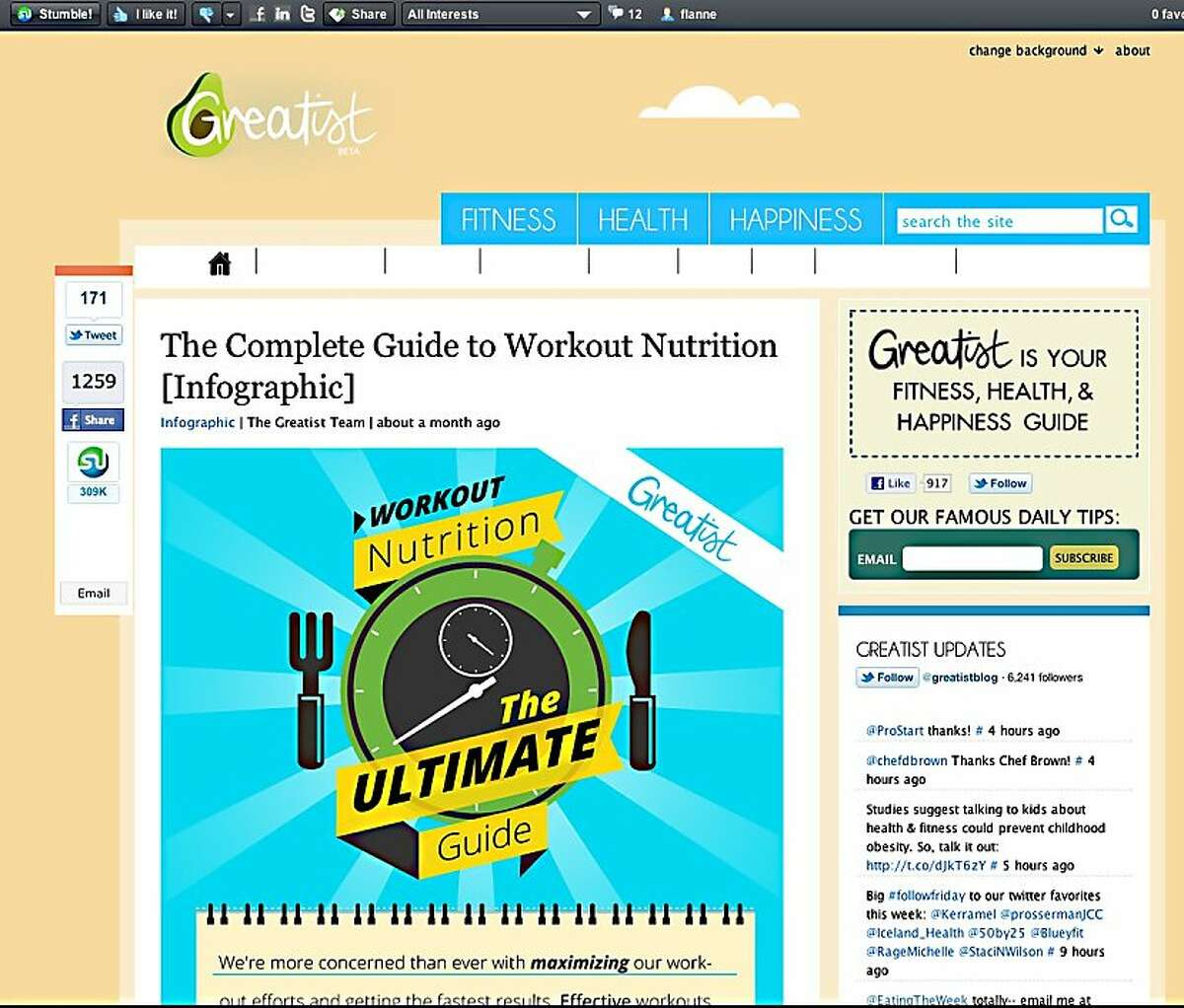 A screenshot from Stumbleupon.com, a site that takes the user to random sites based on interests checked in their membership profile.