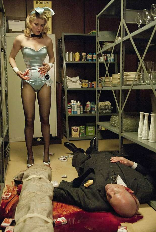 THE PLAYBOY CLUB -- Pilot Episode -- Pictured: (l-r) Amber Heard as Maureen, Randy Steinmeyer as Clyde Hill  Ran on: 08-03-2011 Maria Bello,left, is Detective Jane Timoney in the U.S. version of &quo;Prime Suspect.&quo; Anything goes at &quo;The Playboy Club,&quo; with Amber Heard, right, as Maureen and Randy Steinmeyer as Clyde Hill. Ran on: 08-03-2011 Maria Bello,left, is Detective Jane Timoney in the U.S. version of &quo;Prime Suspect.&quo; Anything goes at &quo;The Playboy Club,&quo; with Amber Heard, right, as Maureen and Randy Steinmeyer as Clyde Hill. Photo: Matt Dinerstein, NBC