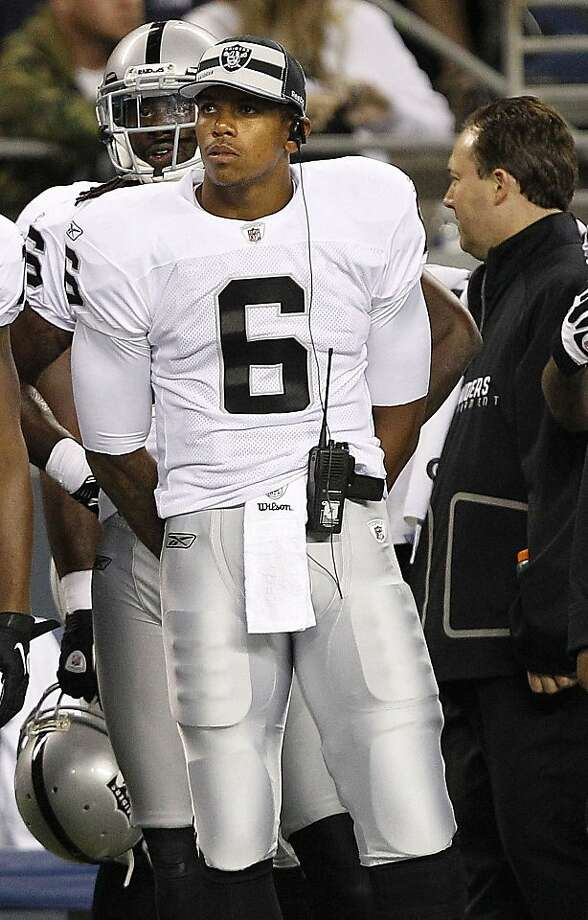 Oakland Raiders quarterback Terrelle Pryor (6) watches the second half of a preseason NFL football game against the Seattle Seahawks, Friday, Sept. 2, 2011, from the sidelines in Seattle. The Seahawks won 20-3. (AP Photo/Elaine Thompson) Photo: Elaine Thompson, AP