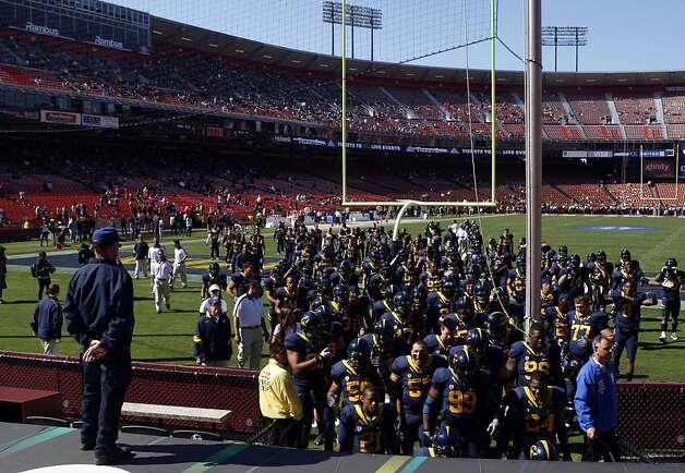 University of California football team returns to the 49ers Locker room prior to the start of their season opener with Fresno State at San Francisco's Candlestick Park Saturday September 3, 2011. Photo: Lance Iversen, The Chronicle