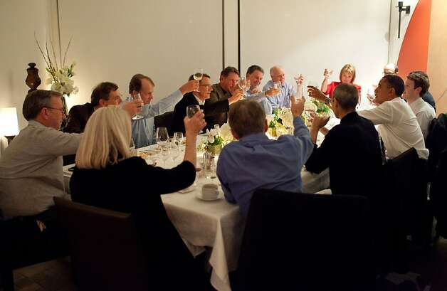 President Barack Obama joins a toast with Technology Business Leaders at a dinner in Woodside, California, Feb. 17, 2011. President Barack Obama joins a toast with Technology Business Leaders at a dinner in Woodside, California, Feb. 17, 2011.  (Official White House Photo by Pete Souza) This official White House photograph is being made available only for publication by news organizations and/or for personal use printing by the subject(s) of the photograph. The photograph may not be manipulated in any way and may not be used in commercial or political materials, advertisements, emails, products, promotions that in any way suggests approval or endorsement of the President, the First Family, or the White House. Photo: Pete Souza, The White House