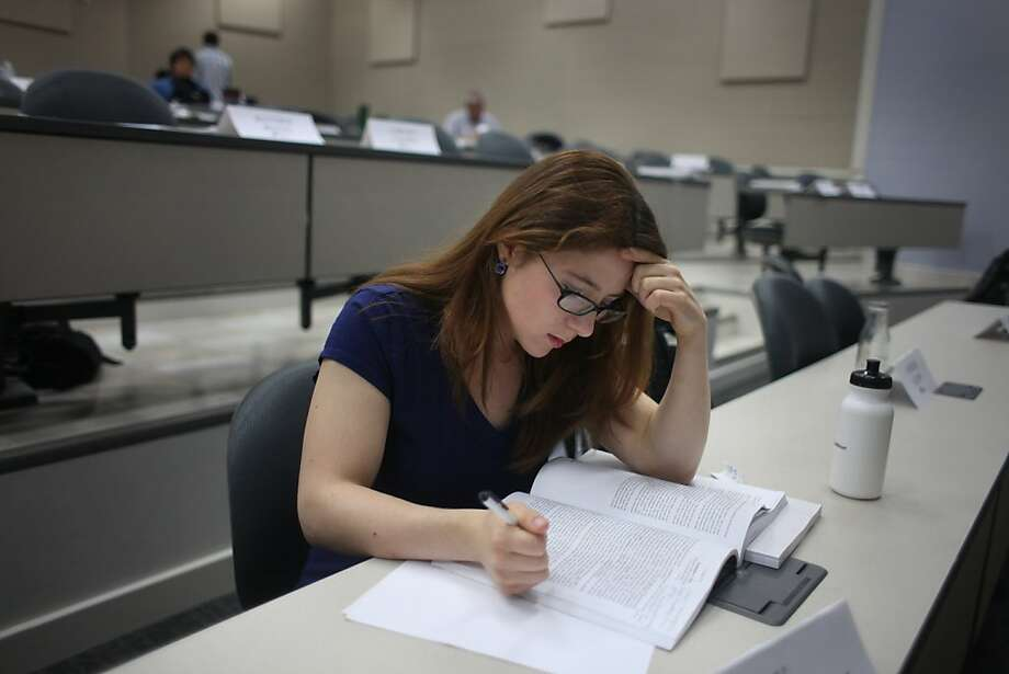 Lily Dorman-Colby studies a case during a lunch break in a class to prepare her for law school on Monday, July 11, 2011 in San Francisco, Calif. Photo: Lea Suzuki, The Chronicle
