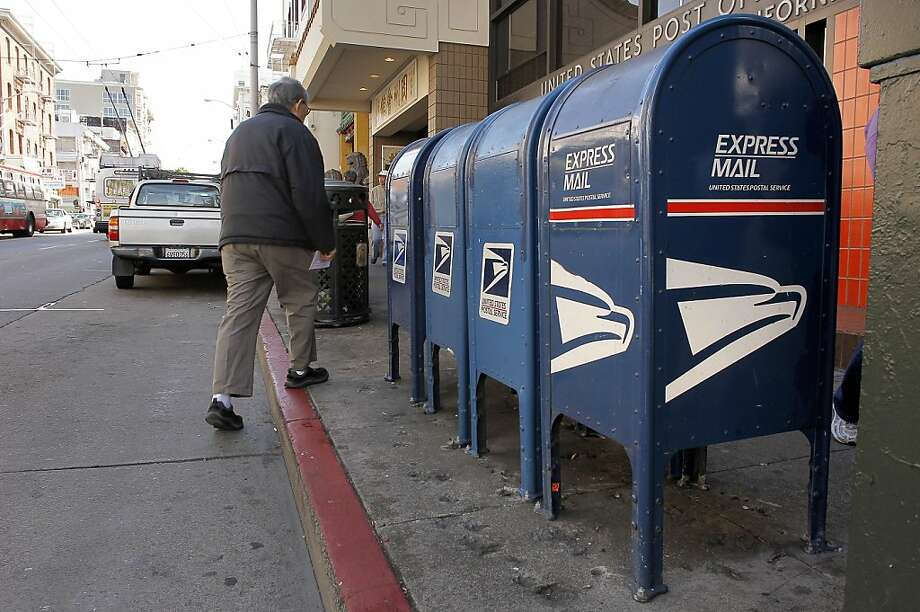 Mailboxes in front of the Chinatown Post Office on the corner of Clay and Stockton Streets on Friday August 12, 2011, in San Francisco, Ca. The demise of the blue mailboxes another casualty of the internet. Photo: Michael Macor, The Chronicle