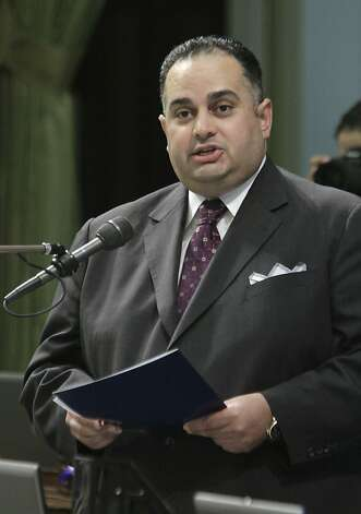 Assembly Speaker John Perez, D-Los Angeles, the first openly gay Speaker of the California State Assembly, urged lawmakers to approve a measure requiring public schools to teach the historical contributions of gay Americans, was approved by the Assembly in Sacramento, Calif., Tuesday, July 5, 2011.  The bill,  by state Sen. Mark Leno, D-San Francisco,  was approved 49-25 on a party line vote and sent to the Governor. (AP Photo/Rich Pedroncelli) Photo: Rich Pedroncelli, AP