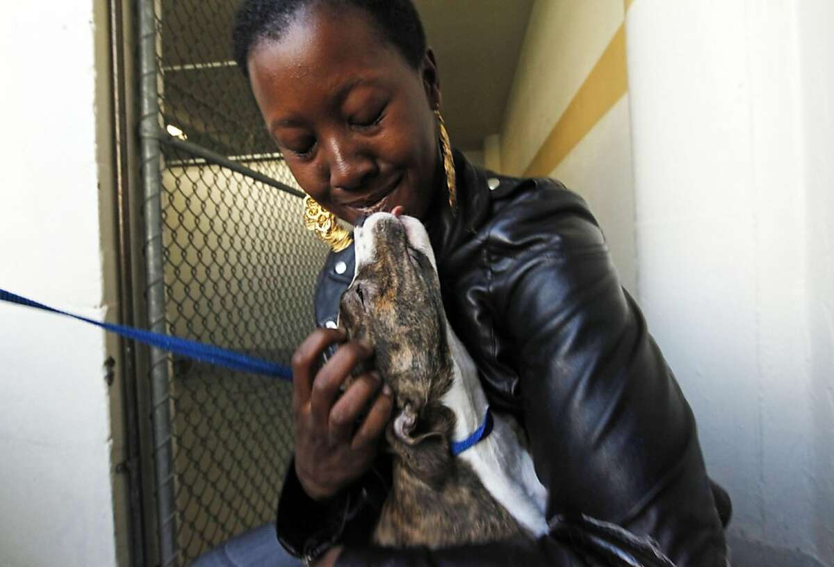Shwanna Edwards hugs her newly adopted pit-bull mix that they named Madeline at the San Francisco Animal Care and Control office Thursday September 1, 2011 in San Francisco, California. The Shelter is over running with abandoned and surrendered animals do to the economy, so they are holding a half
