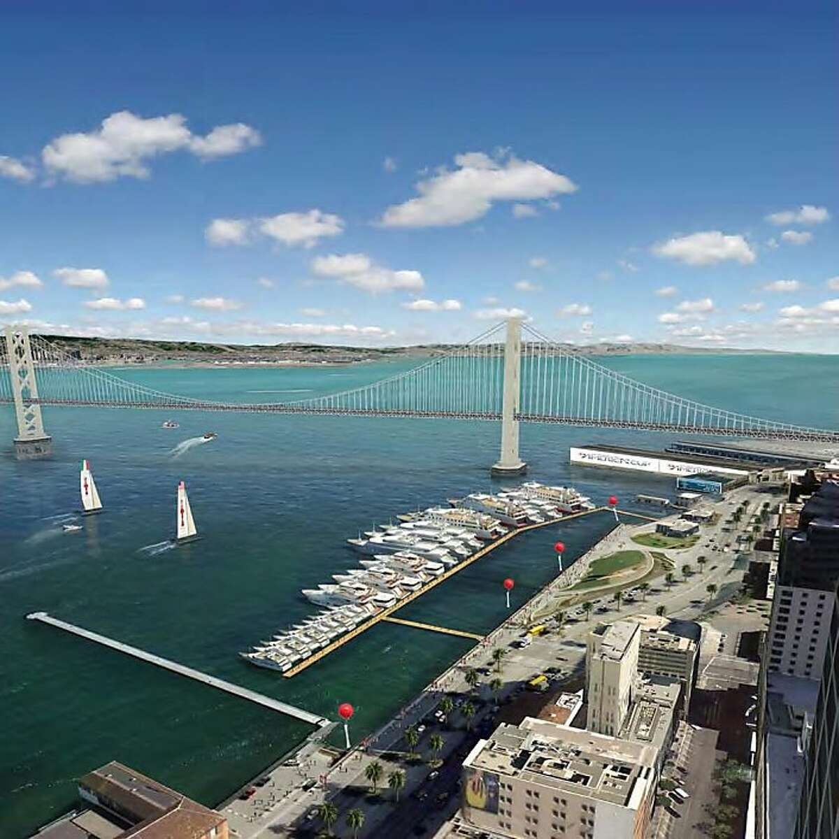 This illustration from the draft Environmental Impact report depicts the proposed spectator berthing facilities for the open water between Piers 14 and 22 1/2 in San Francisco. Illistration courtesy of AECOM Ran on: 08-22-2011 An illustration from the draft environmental impact report depicts proposed berthing facilities for Americas Cup spectators yachts between Piers 14 and 22?. Ran on: 08-22-2011 An illustration from the draft environmental impact report depicts proposed berthing facilities for Americas Cup spectators yachts between Piers 14 and 22?.