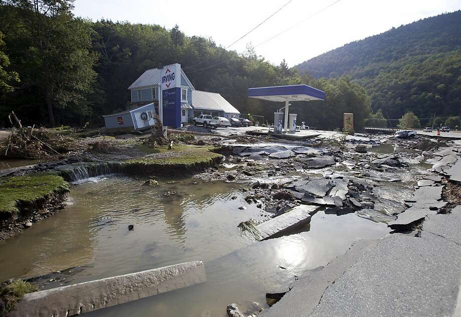 Damage from flooding is seen near the Irving gas station at the junction of Route 4 and Route 100 in in Killington, Vermont, U.S., on Wednesday, Aug. 31, 2011. Across Vermont, rescuers were still attempting to help flooded-out communities by any means at hand in the aftermath of damage from Hurricane Irene. Photographer: Scott Eisen/Bloomberg Photo: Scott Eisen, Bloomberg
